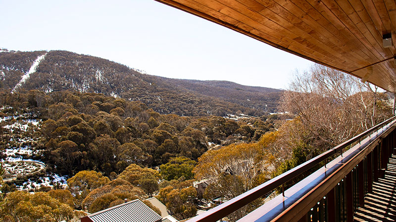 View of Thredbo mountain from Candlelight lodge balcony