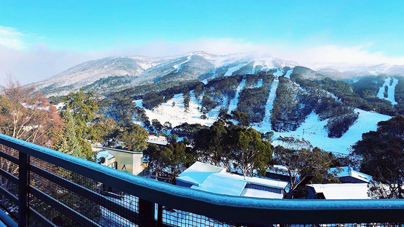 Thredbo ski slopes covered in snow